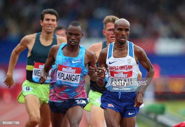 Mo Farah of Great Britain in action on his way to victory in the 3000m at the Muller Grand Prix Birmingham meeting at Alexander Stadium on August 20...