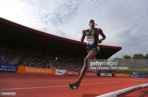 Mo Farah of Great Britain on his way to setting a new British Record in the 2 mile race during the Sainsbury's Birmingham Grand Prix Diamond League...
