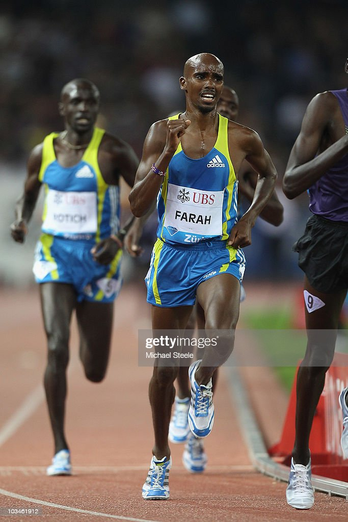 Mo Farah of Great Britain on his way to setting a new national record for the men's 5000m with a time of 12:57.94 during the Iaaf Diamond League meeting at the Letzigrund Stadium on August 19, 2010 in Zurich, Switzerland.