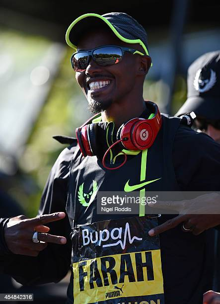 Mo Farah of Great Britain poses before the Great North Run on September 7 2014 in Gateshead England