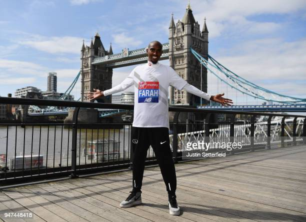 Mo Farah of Great Britain poses in front of Tower Bridge prior to the weekends Virgin Money London Marathon on April 17 2018 in London England