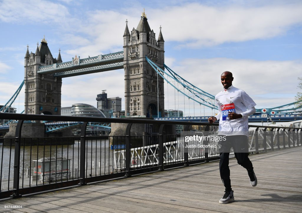 Mo Farah of Great Britain runs in front of Tower Bridge prior to the weekends Virgin Money London Marathon on April 17, 2018 in London, England.