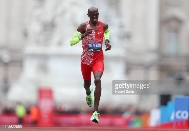 Mo Farah of Great Britain runs towards the finish line during the Men's Elite race during the 2019 Virgin Money London Marathon in the United Kingdom...