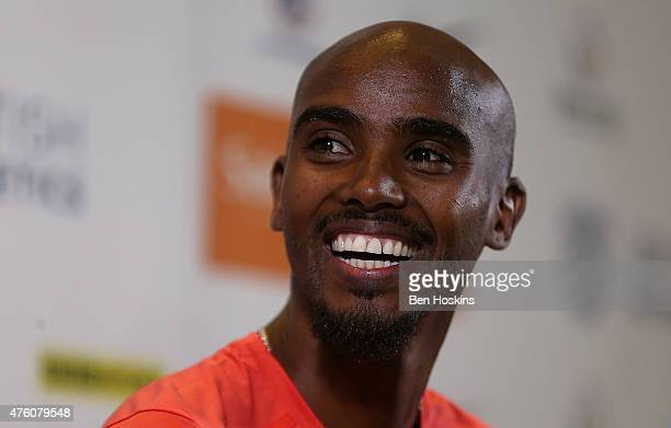 Mo Farah of Great Britain speaks during an Sainsbury's Birmingham Grand Prix International Athletes Press Conference at The Hyatt Hotel on June 6...