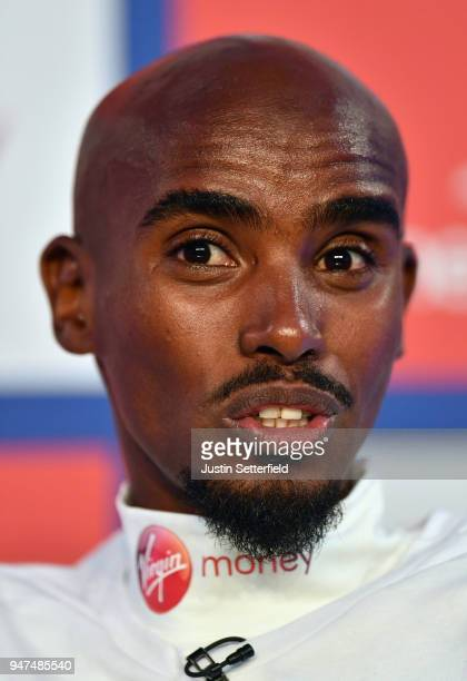 Mo Farah of Great Britain talks to the media during a press conference prior to the weekends Virgin Money London Marathon on April 17 2018 in London...