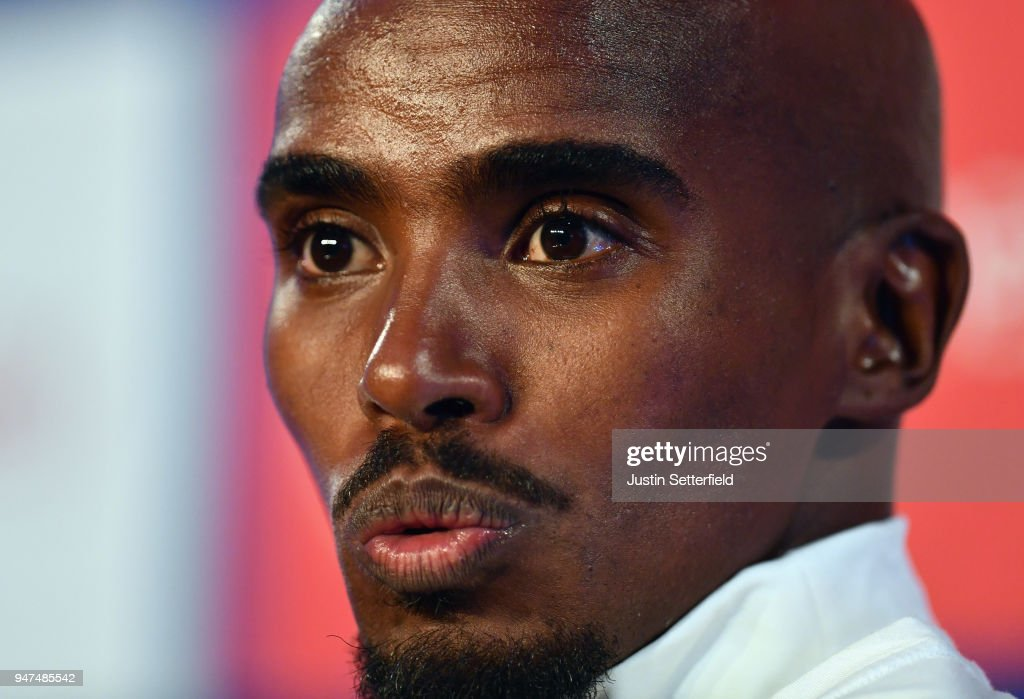 Mo Farah of Great Britain talks to the media during a press conference prior to the weekends Virgin Money London Marathon on April 17, 2018 in London, England.
