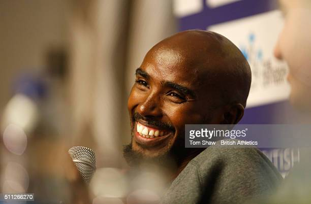 Mo Farah of Great Britain talks to the press during the preview to the Glasgow Indoor Grant Prix at the Crowne Plaza Hotel on February 19 2016 in...