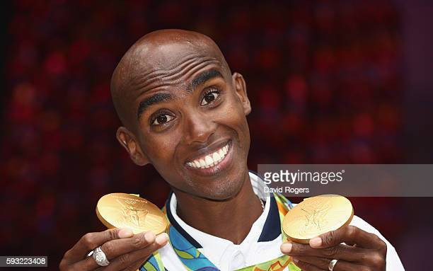 Mo Farah of Great Britain, the double Gold Medal poses at British House on August 21, 2016 in Rio de Janeiro, Brazil.
