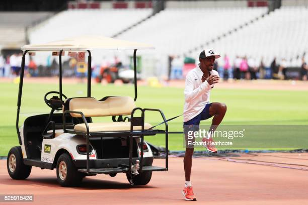 Mo Farah of Great Britain trains prior to the 16th IAAF World Athletics Championships London 2017 at The London Stadium on August 3 2017 in London...