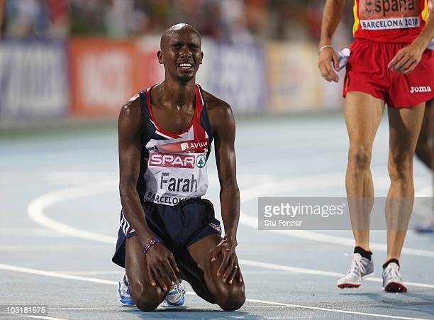 Mo Farah of Great Britain wins gold in the Mens 5000m Final during day five of the 20th European Athletics Championships at the Olympic Stadium on...