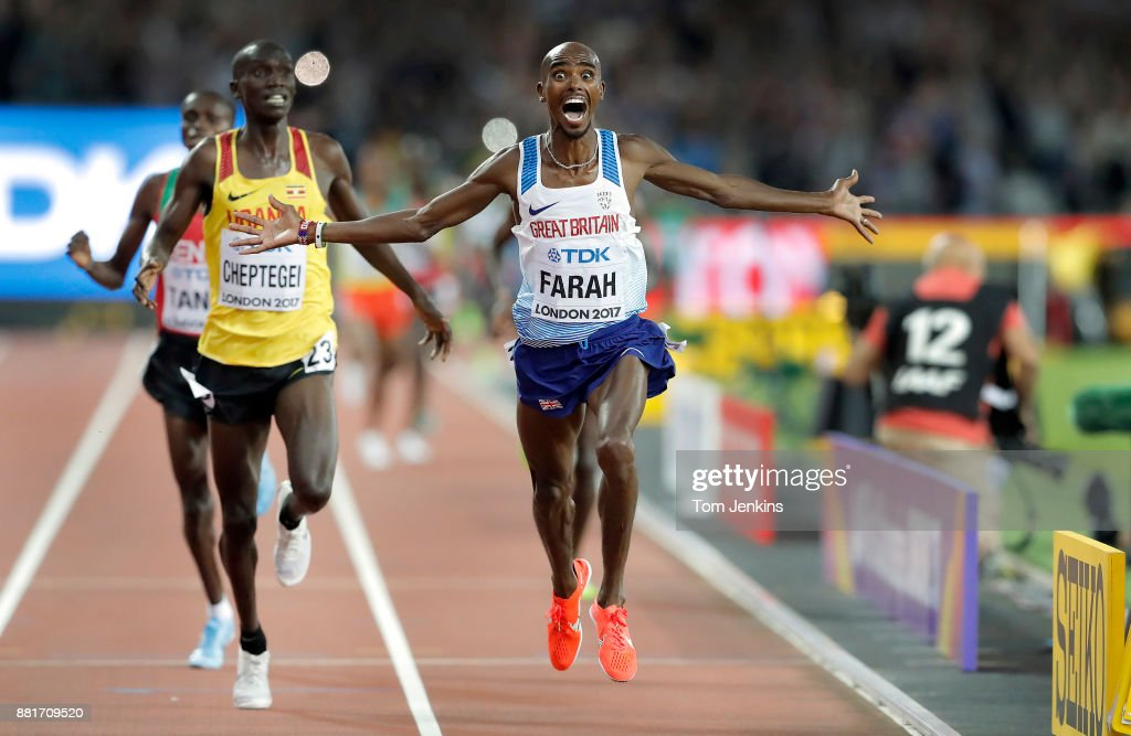 Mo Farah of Great Britain wins the mens 10,000m final during day one of the IAAF World Athletics Championships 2017 at the Olympic Stadium on August 4th 2017 in London