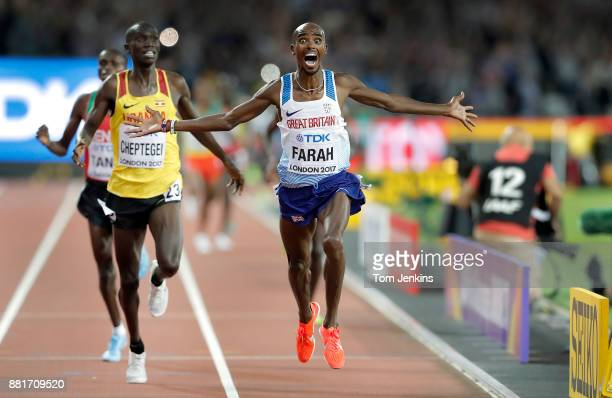 Mo Farah of Great Britain wins the mens 10000m final during day one of the IAAF World Athletics Championships 2017 at the Olympic Stadium on August...