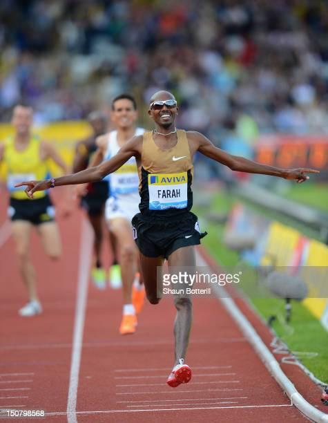 Mo Farah of Great Britain wins the Men's 2 Miles Race during the Samsung Diamond League 2012 Aviva Birmingham Grand Prix at Alexander Stadium on...