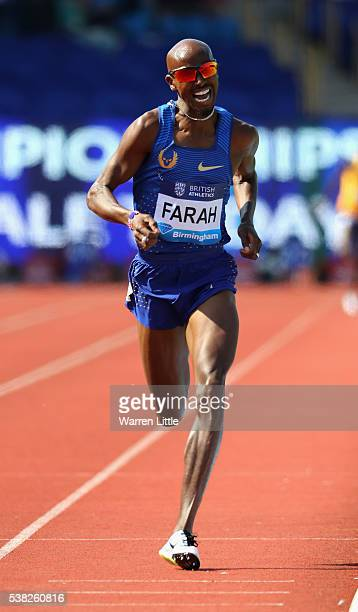 Mo Farah of Great Britain wins the Men's 3000m during the Birmingham Diamond League meet at Alexander Stadium on June 5 2016 in Birmingham England