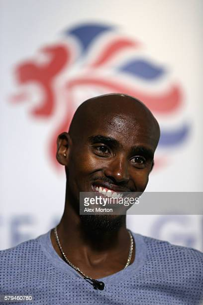 Mo Farah of Team GB during the Media Access to Endurance Track Athletes Named in Team GB for the Rio 2016 Olympic Games at the Tower Grange Hotel on...