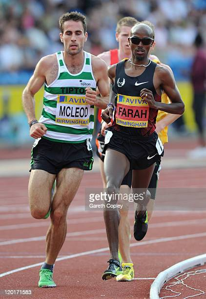 Mo Farah on his way to victory in the mens 5000 metres final during day three of the Aviva UK Trials and Championships at Birmingham Alexander...