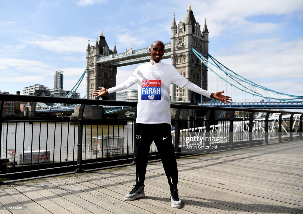 Mo Farah poses for a photo ahead of the Virgin Money London Marathon on April 17, 2018 in London, England.