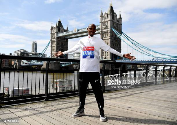 Mo Farah poses for a photo ahead of the Virgin Money London Marathon on April 17 2018 in London England