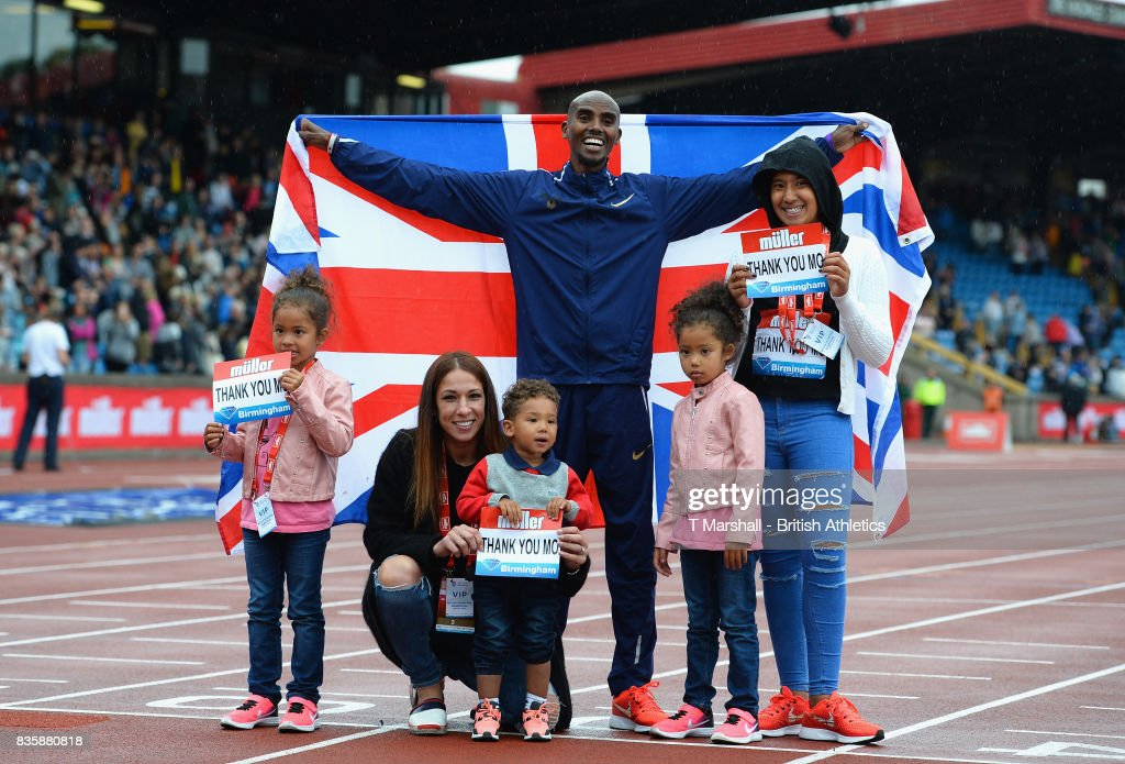 Mo Farah poses with his family after winning the men's 3000m during the Muller Grand Prix and IAAF Diamond League event at Alexander Stadium on August 20, 2017 in Birmingham, England.