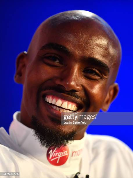 Mo Farah speaks during a Press Conference ahead of the Virgin Money London Marathon on April 17 2018 in London England