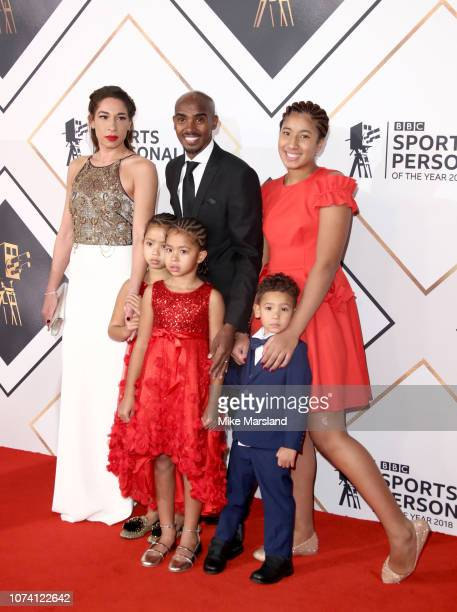 Mo Farah wife Tania Nell and children Amani Rhianna Hussein and Aisha attend the 2018 BBC Sports Personality Of The Year at The Vox Conference Centre...