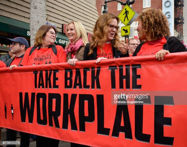 Mo Gaffney Beth Littleford and Elizabeth Perkins seen at the Take Back The Workplace March on November 12 2017 in Hollywood California