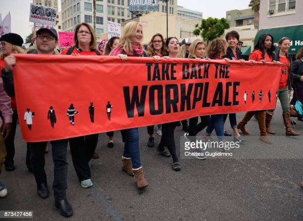 Mo Gaffney Beth Littleford Elizabeth Perkins Tess Rafferty Lauren Sivan Connie Leyva and Areva Martin seen at the Take Back The Workplace March on...