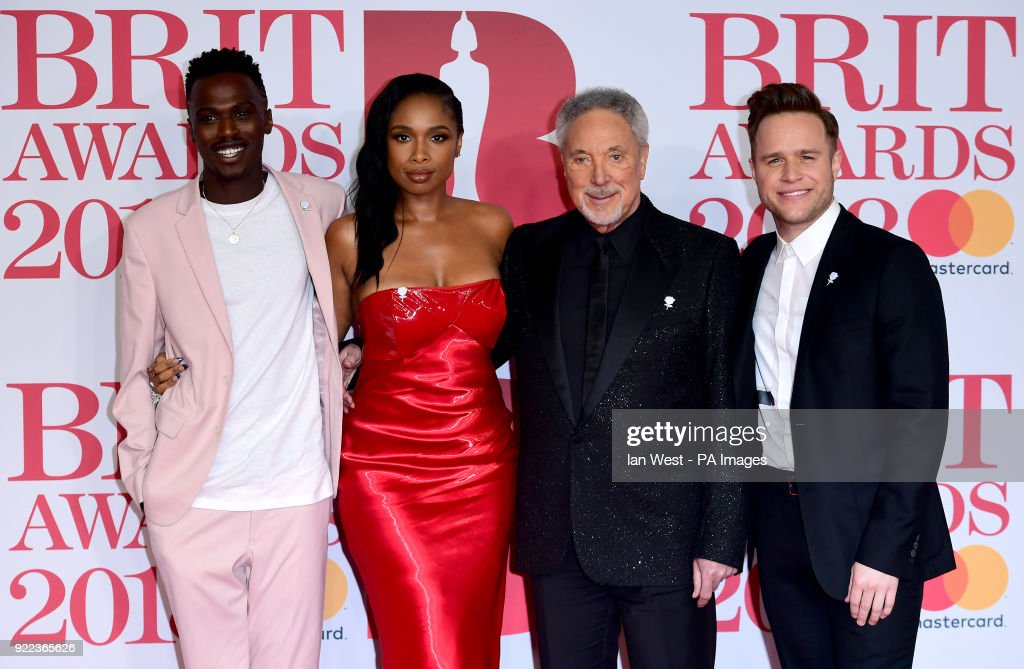 Mo Jamil, Jennifer Hudson, Sir Tom Jones and Olly Murs (left-right) attending the Brit Awards at the O2 Arena, London.