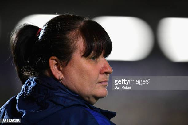 Mo Marley Interim England Head Coach looks on during the FIFA Women's World Cup Qualifier between England and Kazakhstan at Weston Homes Community...