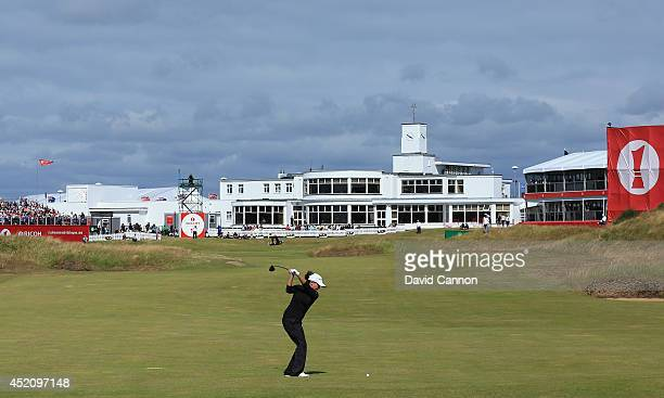 Mo Martin of the United States hits her 2nd shot on the 18th hole during the final round of the Ricoh Women's British Open at Royal Birkdale on July...