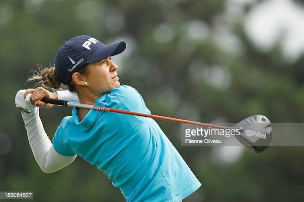 Mo Martin of United States takes a tee shot during the second round of the Reignwood LPGA Classic at Pine Valley Golf Club on October 4 2013 in...