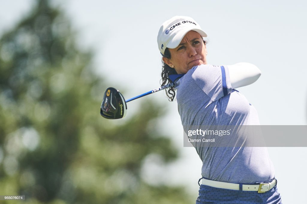Mo Martin plays a tee shot at the third hole during the continuation of the first round of the 2018 Volunteers of America LPGA Texas Classic at Old American Golf Club on May 5, 2018 in The Colony, Texas.