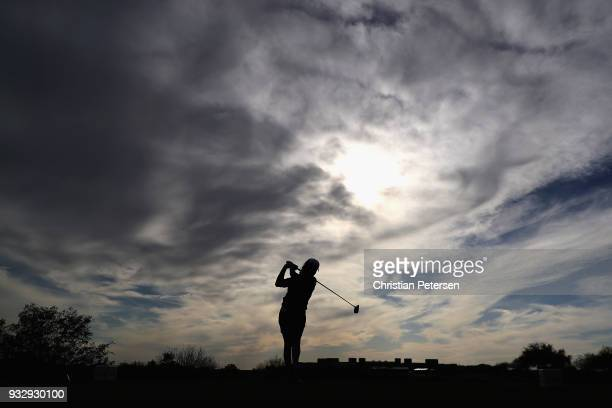 Mo Martin plays a tee shot on the 18th hole during the second round of the Bank Of Hope Founders Cup at Wildfire Golf Club on March 16 2018 in...