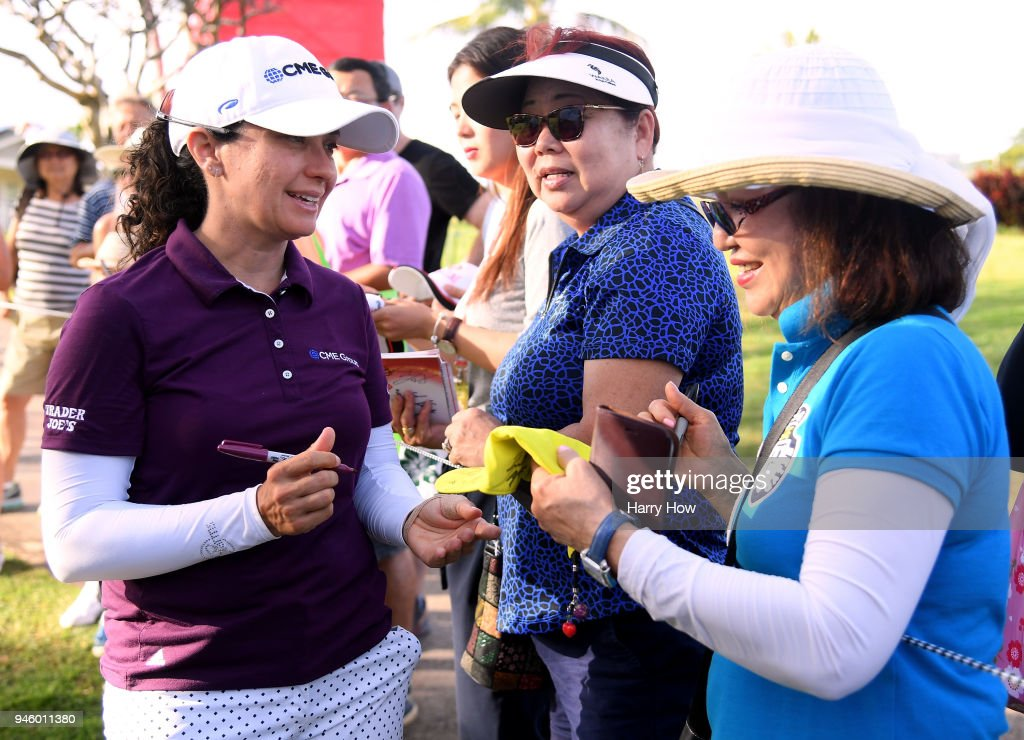 Mo Martin signs autographs after the third round of the LPGA LOTTE Championship at the Ko Olina Golf Club on April 13, 2018 in Kapolei, Hawaii.