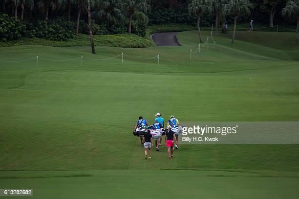Mo Matin Left Mirim lee Centre Jodi Ewart Shadoff Right walks during the Fubon Taiwan LPGA Championship on October 8 2016 in Taipei Taiwan