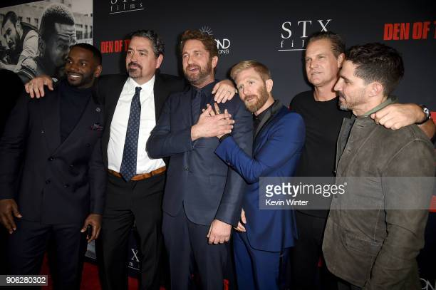Mo McRae Christian Gudegast Gerard Butler Kaiwi LymanMersereau Brian Van Holt and Maurice Compte attend the premiere of STX Films' Den of Thieves at...