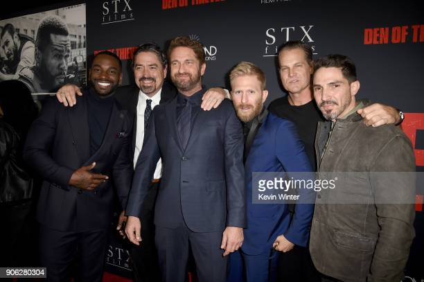 Mo McRae Christian Gudegast Gerard Butler Kaiwi LymanMersereau Brian Van Holt and Maurice Compte attend the premiere of STX Films' 'Den of Thieves'...