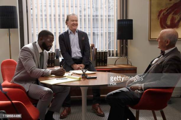 Mo McRae Timothy Hutton and guest star Mark Blum in the Generational AF episode of ALMOST FAMILY airing Wednesday Jan 15 on FOX