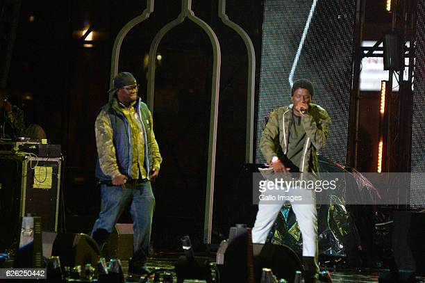 Mo Molemi and Tuks perform during the 7th annual Maftown Heights 2016 concert at the Mary Fritzgerald Square on November 25 2016 in Johannesburg...
