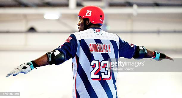 Mo Quadzilla Sanders of USA competes in the Men's Roller Derby World Cup at Futsal Arena on March 16 2014 in Birmingham England