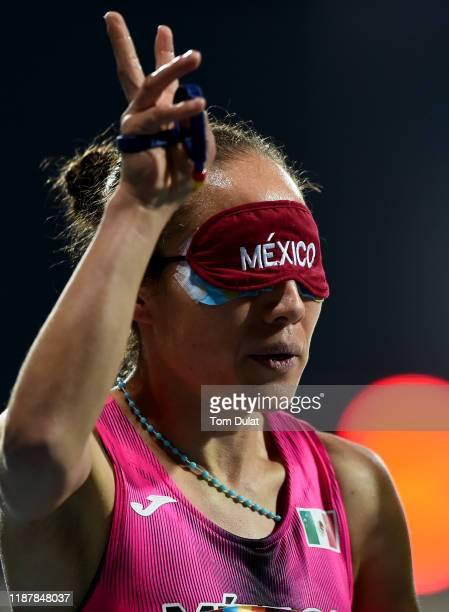 Mo Rodriguez of Mexico celebrates winning the Women's 1500m T11 final race on Day Nine of the IPC World Para Athletics Championships 2019 Dubai on...