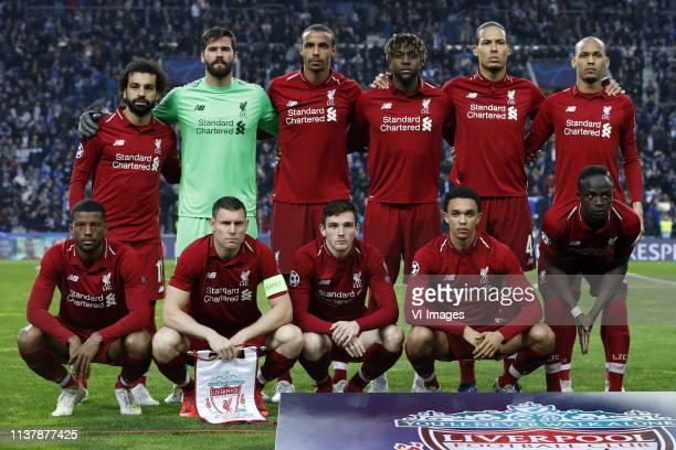 Mo Salah of Liverpool FC Liverpool FC goalkeeper Alisson Becker Joel Matip of Liverpool FC Divock Origi of Liverpool FC Virgil van Dijk of Liverpool...