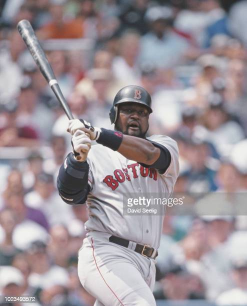 Mo Vaughn First Baseman for the Boston Red Sox swings the bat during the Major League Baseball American League East game against the New York Yankees...