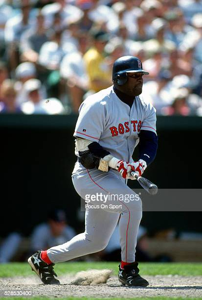 Mo Vaughn of the Boston Red Sox bats against the Baltimore Orioles during an Major League Baseball game circa 1995 at Oriole Park at Camden Yards in...