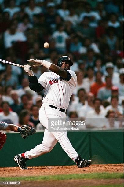 Mo Vaughn of the Boston Red Sox bats against the Minnesota Twins on August 6, 1997 at the Metrodome in Minneapolis, Minnesota. The Red Sox defeated...