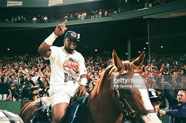 Mo Vaughn of the Boston Red Sox celebrates following the game against the Milwaukee Brewers on September 18, 1995 at Fenway Park in Boston,...