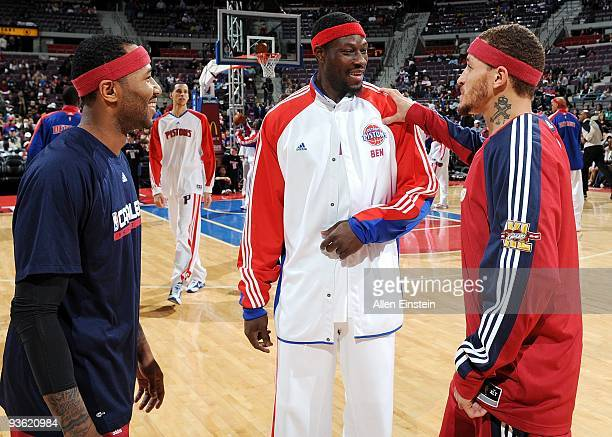 Mo Williams and Delonte West of the Cleveland Cavaliers greet former teammate Ben Wallace of the Detroit Pistons prior to their game at the Palace of...