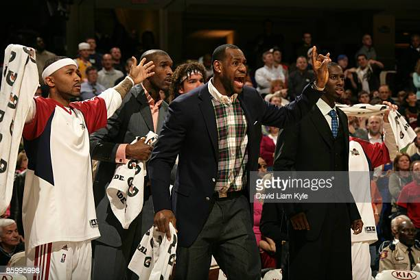 Mo Williams and LeBron James of the Cleveland Cavaliers shout their displeasure over a call in overtime against the Philadelphia 76ers at The Quicken...