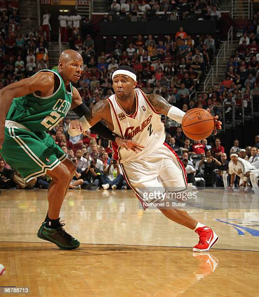 Mo Williams of the Cleveland Cavaliers drives against Ray Allen of the Boston Celtics in Game One of the Eastern Conference Semifinals during the...