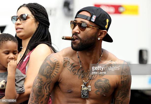 Mo Williams of the Cleveland Cavaliers looks on during the Cleveland Cavaliers 2016 NBA Championship victory parade and rally on June 22 2016 in...